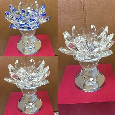 Large Crystal Cut Lotus Ornament Flower Candle Stand With Crystal Filling Gift