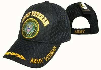 f0e3fc3bc88 US Army Veteran Vet Textured Mesh Black Ball Cap Hat Embroidered 3D CAP591A  TOPW
