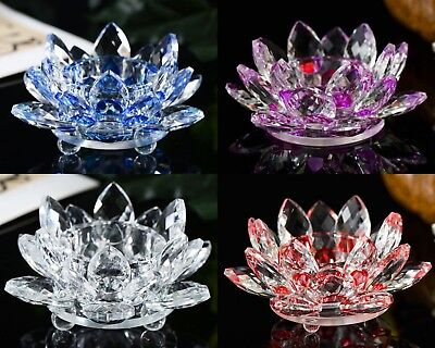 Crystal Cut Lotus Flower Ornament Flower Candle Stand With Crystal Filling Gift