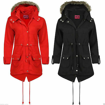 Kids Girls Jacket Hooded Winter Top Fleece Faux Fur Trench Parka Coat Outwear