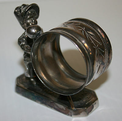 Victorian Silver Plated Napkin Ring Greenaway Girl Drummer Simpson Hall Miller &