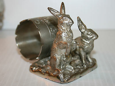 Victorian Silver Plated Napkin Ring Pair Of Rabbits Pairpoint Mfg Co #68