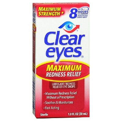CLEAR EYES MAXIMUM REDNESS RELIEF LUBRICATING EYE DROPS DRYNESS 1 oz 30ml