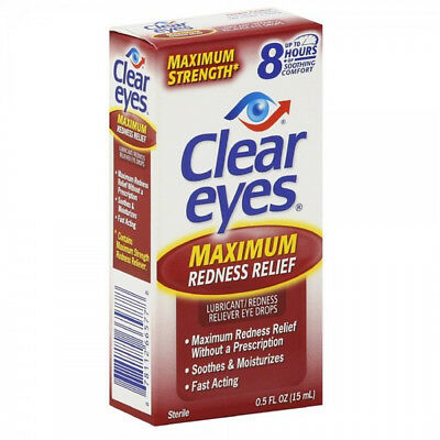 CLEAR EYES MAXIMUM REDNESS RELIEF LUBRICATING EYE DROPS DRYNESS 0.5 oz 15ml