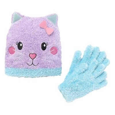 NWT! Girls Fuzzy Kitten Hat and Gloves Set