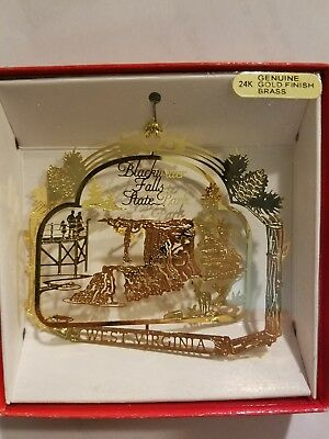 Blackwater Falls State Park West Virginia Brass Christmas Ornament