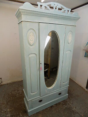 antique,edwardian,wardrobe,drawer,hanging,painted,blue,country,cottage,shabby