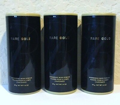Lot of 3 - Avon Rare Gold Shimmering Body Powder Talc 1.4 oz Discontinued