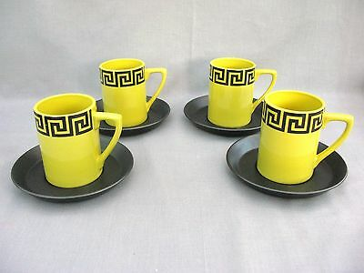 A rare Set of 4 Lime Green Greek Key pattern Coffee Cups & Saucers - Portmeirion