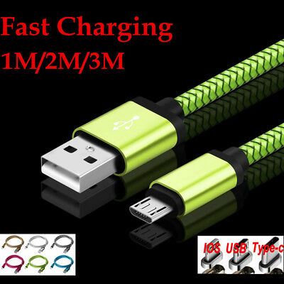 Quick Braided 1M-3M USB C 3.1 Data Snyc Charger Cable For Ios Type C Micro USB