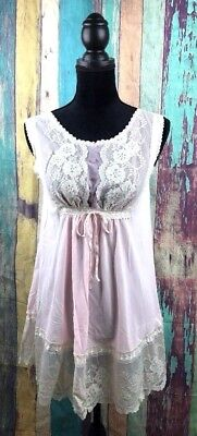 Vtg Gilead Sz Small Night Gown Teddy Lingerie Negligee Pink Lace Nylon USA