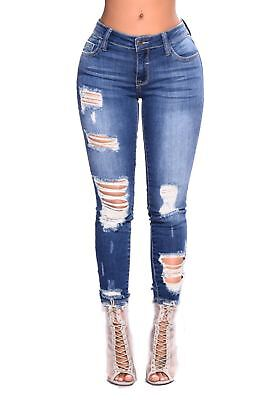 Womens Ladies Celeb Stretch Slim Fit Ripped Skinny High Waist Denim Pants Jeans