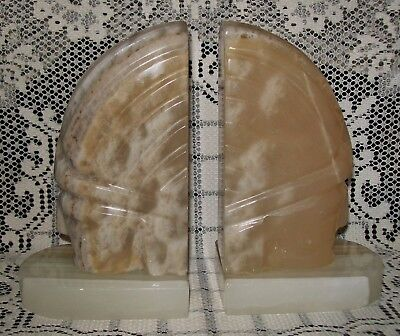HEAVY VINTAGE Onyx Marble Alabaster Agate NATIVE INDIAN BOOKENDS 3kgs Mexico