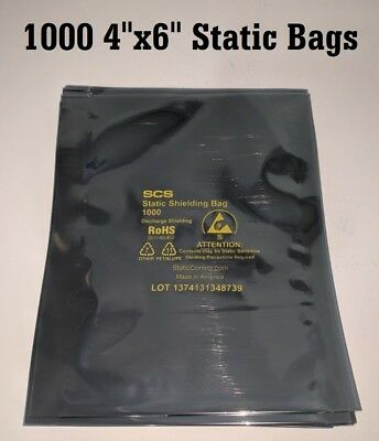"1000 4""x 6"" ESD Anti-Static Discharge Shielding Bags Open-Top Lead-Free (10x100)"