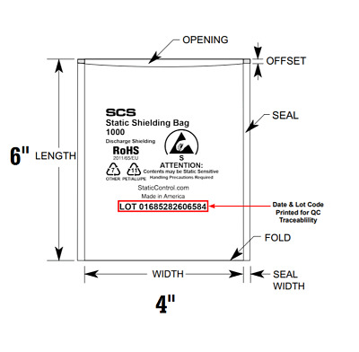 SCS ESD Anti-Static Shielding Bags Open-Top Discharge Lead-Free 4x6 Computer c3