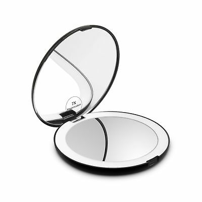 Herwiss Lighted Travel Makeup Mirror, 1x HD 7x Magnifying Folding Hand Held C...