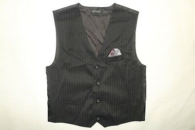 DOCKERS Boy's Striped 4 Button Vest BLACK Size 14 NWOT