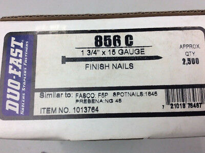 """15 Gauge x 1-3/4"""" Finish Strip Nails Straight Duo-Fast 856c 2,500 Count"""