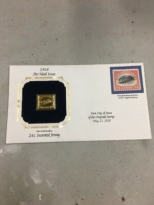 US C3a - Inverted Jenny 24k Gold Replica (1918) 24c on Cover