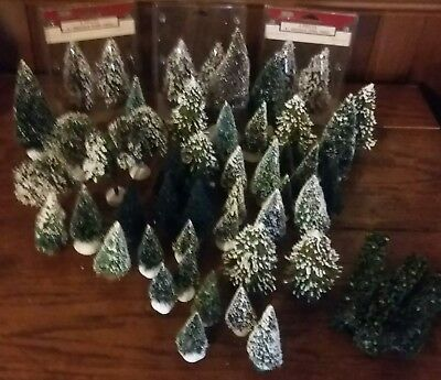 Vintage lot Dept. 56 and Lemax bottle brush Christmas trees
