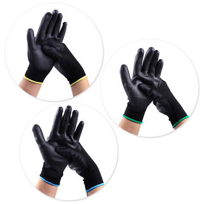 12 Pairs Protective Safety Work Gloves PU Nylon Coated Builders Grip Palm S M L