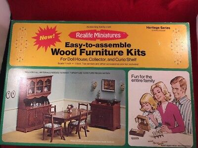 Vtg Realife Miniatures Kit 190 DINING ROOM Victorian Wood Doll House Furniture