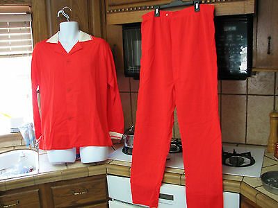 men's loungers pajamas set new old stock 1960s vintage Bright Red Acrylic
