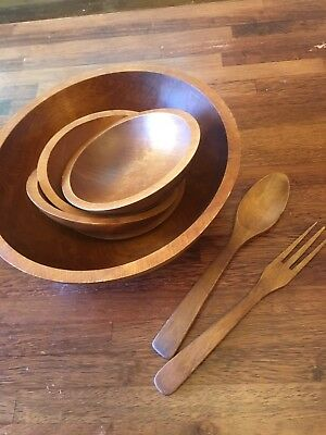Vintage MCM Teak Salad Set Bowl Tongs Baribo Craft Baribo Maid Canada