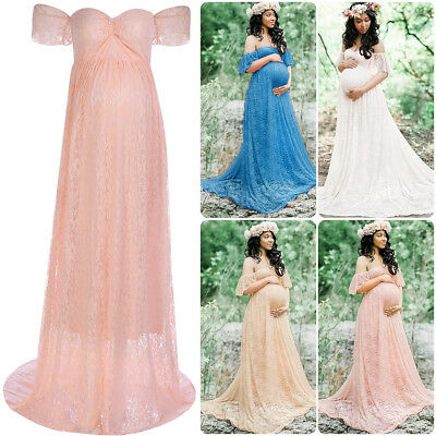 Maternity Evening Dress Lace Bardot Off Shoulder Babyshower Wedding Pregnancy