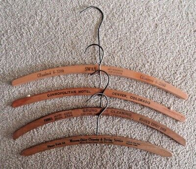 4 Vintage Curved Wooden Advertising Clothes Hangers - Cleaners - Hotel - Fur