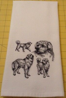 Great Pyrenees Collage Sketch Embroidered Williams Sonoma Kitchen Hand Towel