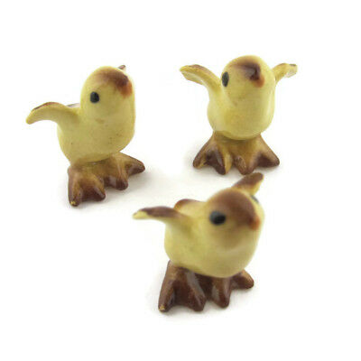 """Vintage Miniature Baby Chicks Standing Ceramic Figurines Lot of 3 Yellow 0.5"""""""
