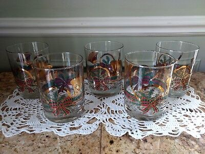 Set of five MCM, great holiday low ball glasses. Vintage and made by Culver.