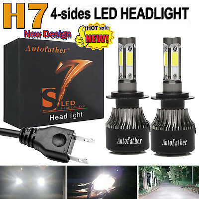 2x 4-Side LED H7 Car Headlight 110W Conversion Bulb Beam Lamp Kit For Ford Focus