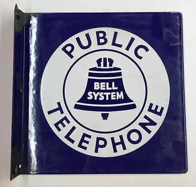 Bell Systems Public Telephone Porcelain on Metal Flange Sign 18x18, great shape!
