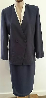 Retro 90s DISCOVERY Australian Made BLUE GREY Skirt Jacket Office Suit size 10