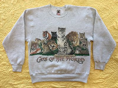 Vintage Cats of the World crew neck sweatshirt size M made in the USA VTG #8-81