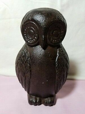 "Cast Iron Rustic Brown Finish Owl Door Stopper, 6 1/2"" Tall  X 4"" Wide"