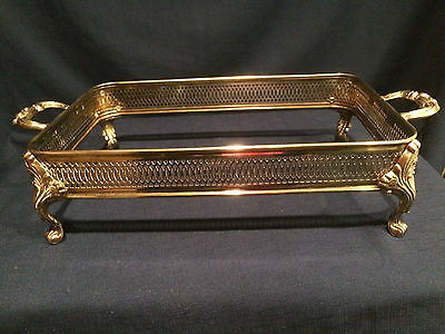 """VINTAGE Silverplate Footed Casserole Dish Holder with Handles 13""""x 8 1/2"""" reduce"""