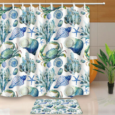 Blue Crabs And Coral Reefs Shower Curtain Bathroom Fabric 12hooks 7171inches