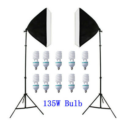 Photo Softbox Light Stand Continuous Soft Box Lighting Studio & Bulb Globe Kit