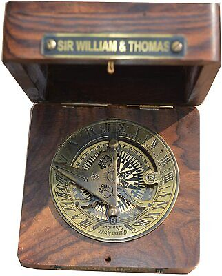 Nautical Box Brass Sundial & Watch Marine Gift Wood Art Vintage Maritime Sailor