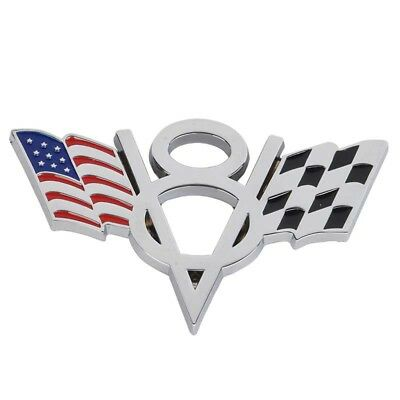 1pc 3D Car Sticker Plating+Metal V8 American Flag Emblem Badge Decals