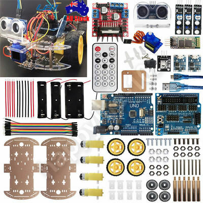 Car Tracking Motor UNO R3 Bluetooth IR Robot Chassis Kit 4WD Ultrasonic Arduino