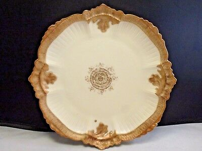 ANTIQUE L & S LIMOGES PLATE HAND PAINTED WITH HEAVY GOLD DETAILS 8 3/4 snowflake
