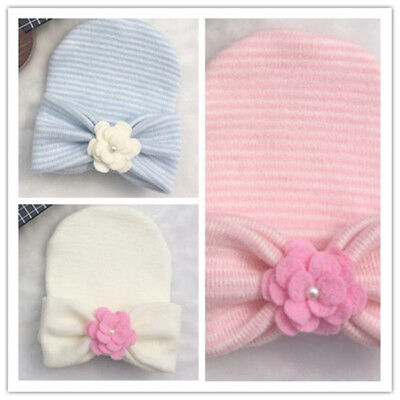 US Cute Newborn Baby Infant Girl Toddler Comfy Bowknot Hospital Cap Beanie Hat