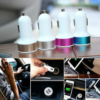 Universal Car Dual USB Metal 2 Port Mini Charger Adapter Bullet For Cell Phone