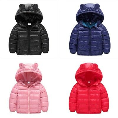 US Toddler Kids Baby Girl Winter Warm Hooded Coat Outerwear Down Jacket Snowsuit