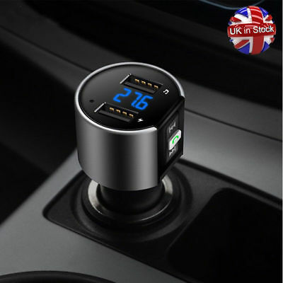Bluetooth Hands-free Car MP3 Player FM Transmitter 3.4A Dual USB Quick Charger
