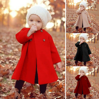 Winter Girl Kid Baby Outwear Cloak Button Jacket Warm Long Coat Clothes 0-5Years